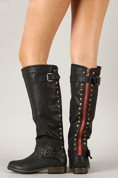 Studded Knee High Red Zipper Boots -Sexy Flat Riding Boots with Ankle Buckles, Red Zipper and Gold Studs Riding Biker Boots on Etsy, $49.90
