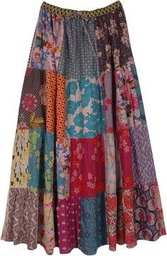 A mixed patchwork full maxi length cotton skirt in deep earthen tone floral print with an elastic waist and drawstring. Full elastic waist adds comfort and stretch and drawstring gives you sizing flexibility and a confident fitting. #tlb #Patchwork #MaxiSkirt #Floral #Printed #bohemianfashion #Handmade #PatchworkSkirt #BohemianSkirt #HippieSkirt #MaxiPatchworkSkirt