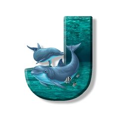 Buchstabe - Letter J Alphabet Art, Alphabet And Numbers, Delphine, Letter J, Fathers Day, Disney, Stickers, Sea, Design