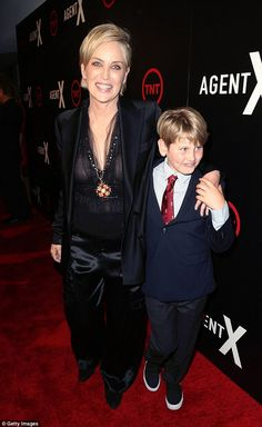 Supportive son! Sharon Stone was joined by her cute son Laird at the premiere of TNT's Age...