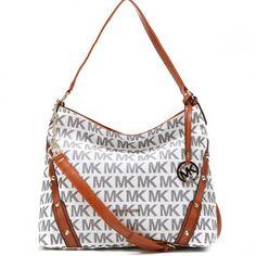 Michael Kors Leigh Stud Logo Signature Large Vanilla Shoulder Bag