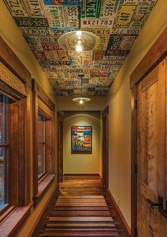 License Plate Ceiling - great for a man cave, or a boys room, or, how 'bout an entire wall! - Mountain Home Awards Storied Spaces: Tahoe Quarterly Diy Basement, Remodel, Mountain Home, Ceiling, Ceiling Design, House, Old License Plates, Basement Ceiling, False Ceiling