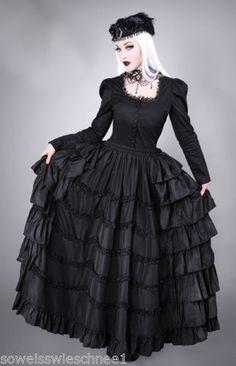 Restyle-Gothic-Lolita-Rock-Rueschen-Reifrock-Steampunk-Ruffles-Vintage-Skirt