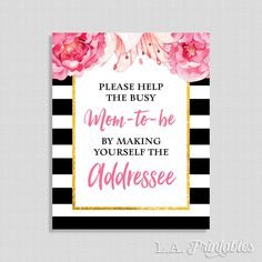 Help The Busy Mom To Be By Making Yourself The Addressee Sign, Black & White Peony Shower Sign, Floral Shower, 8x10, INSTANT PRINTABLE