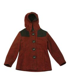 This Red & Black Hooded Coat - Toddler & Girls is perfect! #zulilyfinds Size 2 - 16