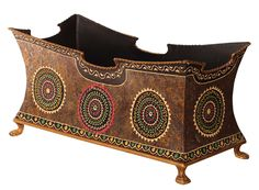 "Bulk Wholesale Handmade 18"" Trolley Shaped Iron Planter / Flower Vase in Brown Color Decorated with Traditional-Look Motifs in Red, Green & More Bright Colors – Antique-Look Home Décor from India"