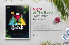 Night at The Beach Flyer Template by Thats Design Store on @creativemarket