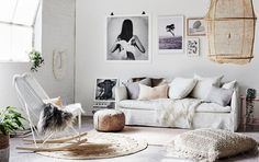 April 2016 - Styling: Michelle Halford (The Design Chaser); Photography: Lisa Cohen Photography. Artwork: Love Warriors, Dan Isaac Wallin, Studio Joop. Globe West Sofa, Kalyana Macrame cushion, Natures Collection Reindeer & Sheepskins, Ay Illuminate Z2 Ona Light, Sofia Large Feather & Shell Boho Necklace, Armadillo&Co rug.