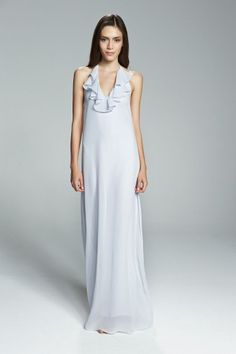 DARYL. Flutter ruffle halter chiffon bridesmaid dress shown in Mist. Available in 24 colors.