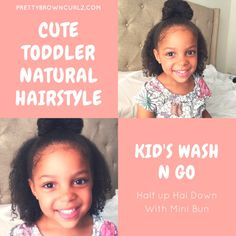 This tutorial will show how to achieve the perfect wash and go on your child's natural type 4 hair. You will also learn how to style with a cute top knot Black Hair Cuts, Mini Bun, Type 4 Hair, Wash N Go, Cute Toddlers, Natural Hairstyles, Top Knot, Cute Tops, Super Cute