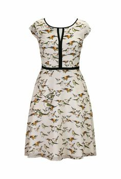eShakti Women's Contrast trim bird print dress