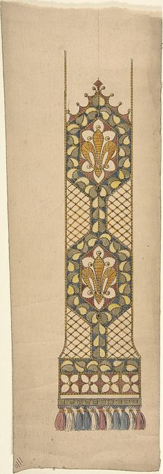 Design for a Stole or Maniple Ernest Geldart (British, London 1848–1929) Date: late 19th–early 20th century Medium: Graphite, pen and ink with watercolor Classification: Drawings Credit Line: Exchange, Royal Institute of British Architects, 1960 Accession Number: 60.724.14