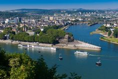 Koblenz ~ Germany ~ Deutsches Eck ~ This is where the Mosel and Rhein Rivers meet.