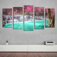 Waterfall Serenity - 5 Piece Canvas Painting
