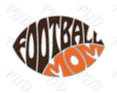 Digital Football mom Word Art in Oval Football shape Football