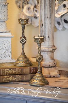 Antique Pr Gothic Church Candlesticks From by edithandevelyn on Etsy
