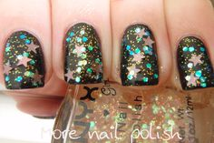 NYX Girls Dreamy Glitter over black by More Nail Polish.