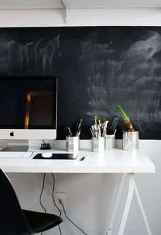You Must Have A Home Office. A chalkboard inspiration decorating before and after house design design room design Home Office Space, Office Workspace, Home Office Design, Modern House Design, Office Decor, Desk Space, Office Ideas, Office Designs, Home Office Inspiration