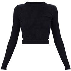 Black Fine Ribbed Cropped Cut out Jumper ($24) ❤ liked on Polyvore featuring tops, sweaters, cut-out crop tops, cropped tops, jumpers sweaters, jumper top and cropped sweater