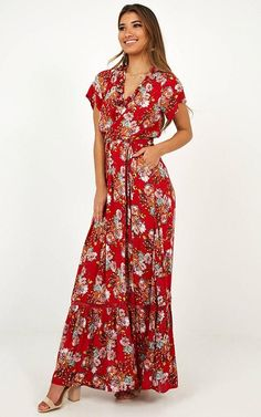This dress is the ultimate staple piece this season! This maxi length piece is the definition of chic and features floral detailing. This dress will have you lo Modest Dresses, Dance Dresses, Maxi Dresses, Summer Dresses, Long Floral Maxi Dress, Red Floral Dress, Girl Outfits, Casual Outfits, Cute Outfits
