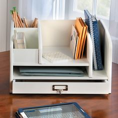 Improvements Wellesley Desktop Organizer - Cherry ($70) ❤ liked on Polyvore featuring home, home decor, office accessories, cherry, sewing, scrapbooking, office storage, office furniture, indoor storage and home office furniture