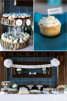 Log slices throughout, but a unique use here as a cake stand with a mason-jar pedestal