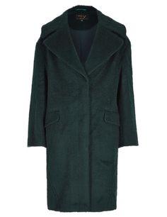 M&S | Speziale Wool Rich Brushed Overcoat in bottle green | 82% wool, 18% polyamide.  Lined | £159