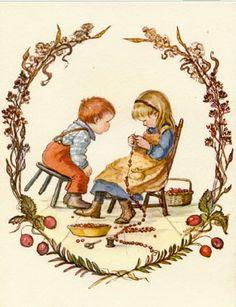 stringing cranberries -Tasha Tudor