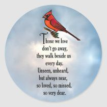 """Cardinal """"So Loved"""" Poem Square Sticker 