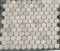 Carrara Marble Hexagon Mosaic Tile traditional bathroom tile ....love this!!! I could put it the powder room (with a navy border), in the entry (with grey accent), and even as a backsplash in the kitchen!
