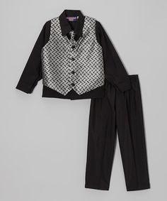 Loving this Silver & Black Block Four-Piece Vest Set - Infant on #zulily! #zulilyfinds