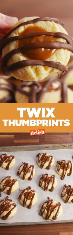These Twix Thumbprints are like the holiday version of your favorite candy. Get the recipe on Delish.com.