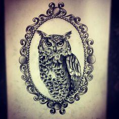 Owl tattoo #cameotattoo