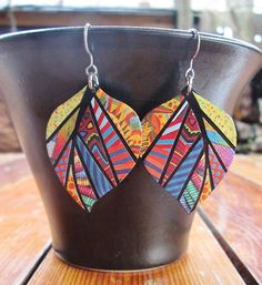 Paper Mosaic Earrings Upcycled Earrings by MarjEngleDesigns