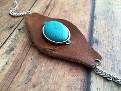 Leather/ Turquoise Cuff Bracelet  on Etsy, $22.00