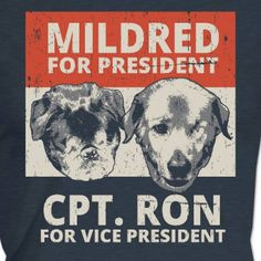 """As the 2016 elections grow nearer, Mildred and Captain Ron are hitting the campaign trail with a promise to keep """"an Eye on America"""" and to unite and inspire us all.  Mildred and Captain Ron are residents at Old Friends Senior Dog Sanctuary. By supporting Mildred and Captain Ron's bid for the White House, you're helping to provide loving, lifetime homes for senior dogs. Support Mildred, Captain Ron and Old Friends Senior Dog Sanctuary by buying a shirt and/or making a donation. Link to the…"""