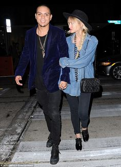 Happy couple: Ashlee Simpson and Evan Ross enjoyed a loving display in West Hollywood on T...