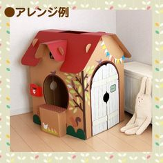 Cardboard Houses For Kids, Cardboard Dollhouse, Cardboard Box Crafts, Cardboard Playhouse, Diy Playhouse, Cardboard Toys, Playhouse Furniture, Cardboard Furniture, Diy Karton