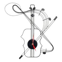 Violin Metal Wall Clock, Black