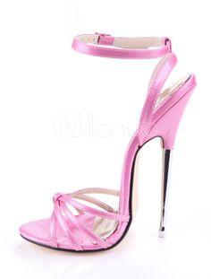 Sandales à talons aigus sexy roses brillantes rubans aux chevilles - Milanoo.com