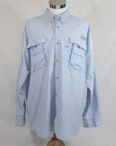 Columbia Men's PFG Fishing Button Front Shirt Long Sleeve Vented Light Blue 2XL #Columbia #ButtonFront