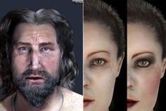 Forensic facial reconstructions of King Pere II of Anjou (d 1285) (L) Queen Blanca de Anjou (d1310) from their skeletal remains. TheQueen is shown both with and without the makeup that was found on her (without makeup (C), with makeup (R) )