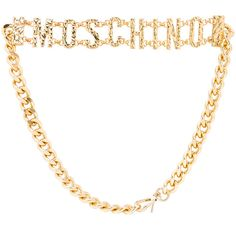 Moschino Chain Logo Belt ❤ liked on Polyvore featuring accessories, belts, moschino, chain belt, moschino belt, gold belt and logo belts