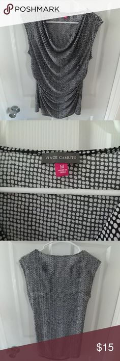 Vince Camuto Blouse Vince Camuto Blouse Cowl Neck Sleeveless Blouse 95% polyester 5% spandex Very comfy/easy wear/easy care Black and White pattern.  Perfect for work under a jacket or on its own.  Pair with black slacks/skirt or be daring and try wearing it with red!  Either way a gorgeous addition to your wardrobe! Vince Camuto Tops Blouses