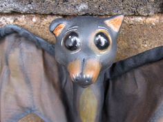 OOAK Baby Bat Pup Rocco art doll figure hanging by AnabooCreations