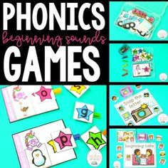 Teach your students beginning sounds with these Phonics Word Games! Use these Easel Activity compatible games during whole group instruction, flexible grouping, centers, warm up, RTI intervention or any other time during your day. Fun Phonics Activities, Phonics Games, Teaching Phonics, Beginning Sounds Kindergarten, Kindergarten Activities, Classroom Activities, Phonics Words, Sight Word Games, Teacher Organization