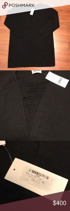 Sonia Rykiel wool black tunic top NWT classy black woolen long sleeved tunic. Perfect for the cold winter nights! One of the strings on front is loose (see picture). Size XL. Sonia Rykiel Tops