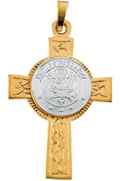 U.S. Army Cross Pendant     Quality - 14K Yellow or 14K White Gold     Size - 28.5 x 20.75 MM     Finish - Polished     Series Description - TWO TONE US ARMY CROSS     Weight:  1.6 DWT ( 2.49 grams)      ST- R42059G    http://www.thesgdex.com