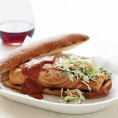 This barbecue sauce, made with ketchup, cider vinegar, Worcestershire and canned chipotles in adobo, comes together quickly in a blender. The chipotle... Barbecue Sauce Recipes, Grilling Recipes, Salmon Croquettes, Salmon Sandwich, Restaurant Specials, Grilled Salmon Recipes, Salmon And Rice, Smoking Recipes, Food Stands