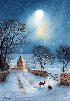 Hares in the moonlight The Shortcut by janayart on Etsy Winter Pictures, Christmas Pictures, Christmas Art, Winter Magic, Winter Art, Winter Snow, Graffiti Kunst, Winter Scenery, Rabbit Art